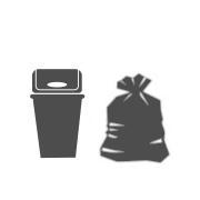 Atkritumu tvertnes un maisi