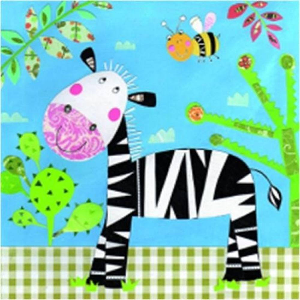 Salvetes 33x33cm happy zebra, Paw Decor Collection