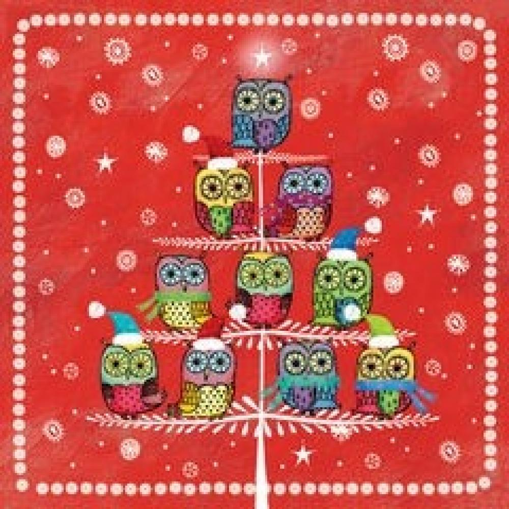 Salvetes 25x25cm winter owlies sarkanas, Paw Decor Collection